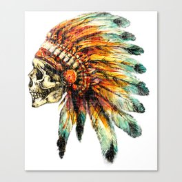 Skull Colorful Chief Canvas Print