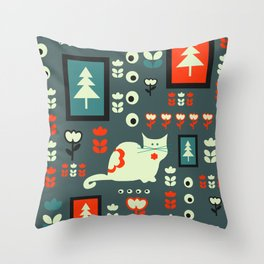 White cat and holiday decor Throw Pillow