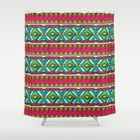 aztec Shower Curtains featuring Aztec by Shelly Bremmer