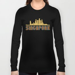 Vintage Style Singapore Skyline Long Sleeve T-shirt