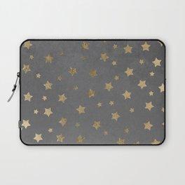 gold christmas stars geometric pattern grey graphite cement concrete Laptop Sleeve