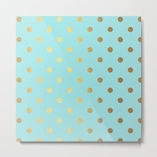 Gold polka dots on aqua background - Luxury turquoise pattern #Society6 Metal Print