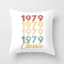 Vintage Retro Born In 1979 40th Birthday Gift Throw Pillow