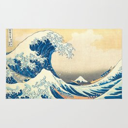 Japanese Woodblock Print The Great Wave of Kanagawa by Katsushika Hokusai Rug