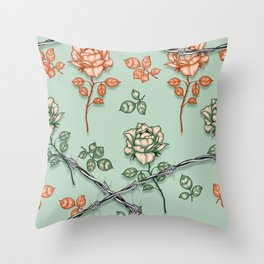 Vintage roses and thorns Throw Pillow
