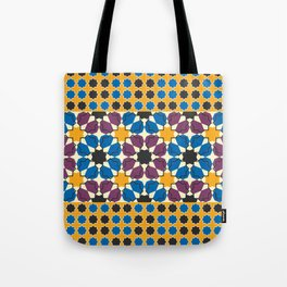 Moroccan seamless pattern, Morocco. Patchwork mosaic with traditional folk geometric ornament Tote Bag