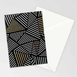 A Linear Black Gold Stationery Cards