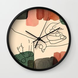 Promise in all seasons, pinky promise art print, printable pinky swear concept, stain shapes poster Wall Clock