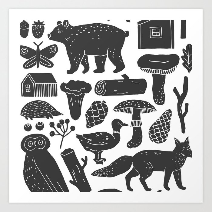 Abstract Hand Painted Black Gray Forest Animals Illustration Art Print By Eclectic Art