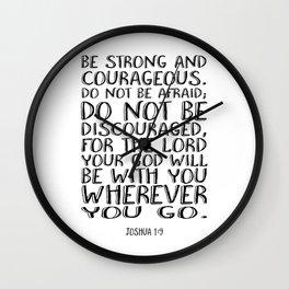 Bible Verse 1 Joshua 1:9 Christian Quote Typography Wall Art Printable Art Bible Verse Printable Wall Clock