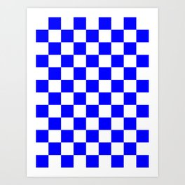 Checkered - White and Blue Art Print
