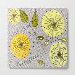 Mid-Century Modern Floral Metal Print