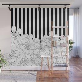 Cherry Blossom Stripes - In Memory of Mackenzie Wall Mural