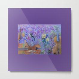MAGIC VIOLIN Ultraviolet pastel composition inspired by music and farytale Metal Print