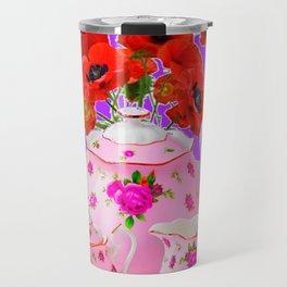 DECORATIVE PORCELAIN & RED  POPPIES FLORA  ART Travel Mug