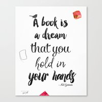 neil gaiman Canvas Prints featuring Neil Gaiman, quotes, typography, words, inspirational by Good vibes and coffee