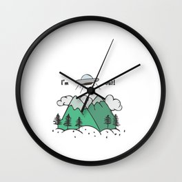 Hand Drawn Illustrations I'm Out UFO Alien Abduction Gift Wall Clock