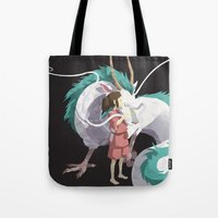 spirited away Tote Bags featuring Spirited Away by ThisTinyBean.