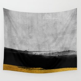 Black and Gold grunge stripes on modern grey concrete abstract backround I - Stripe - Striped Wall Tapestry