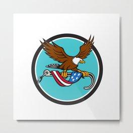 American Eagle Clutching Towing J Hook Flag Drape Circle Retro Metal Print