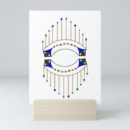 Blue Eye with Hanging Gold Geometric Shapes Mini Art Print