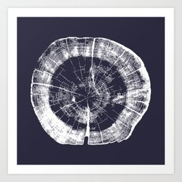 Tree Rings - Evening Blue Art Print