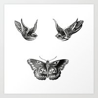 tattoos Art Prints featuring Tattoos by Hoeroine