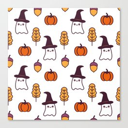 cute cartoon halloween pattern background with ghosts, pumpkins, leaves and acorns Canvas Print
