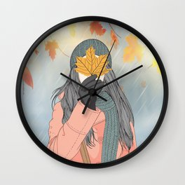 Autumn and the beautiful woman with her long pink coat, Wall Art Girl Holding Leaves in Autumn Wall Clock