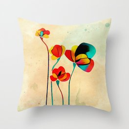 Exotic Watercolor Flower Throw Pillow
