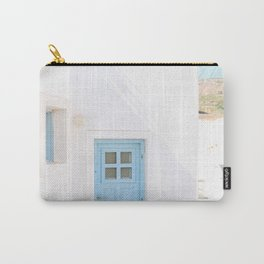 Colorful Blue Door and White Building in Oia Santorini Island Greece Carry-All Pouch