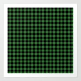 Classic Green Country Cottage Summer Buffalo Plaid Art Print