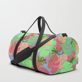Monstera and Lizards (Retro Pink) Duffle Bag