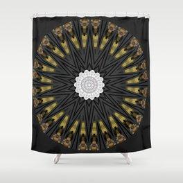 Dark Black Gold & White Marble Mandala Shower Curtain
