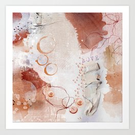 Abstract - Circulating - Richly Textured Design in Vermillion and Rust Color Art Print