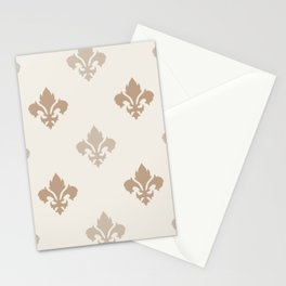Fleur de lis Pattern – Neutral Brown and Biege Earth Tones Stationery Cards