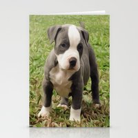 pit bull Stationery Cards featuring Pit Bull Puppy by MandiMccl