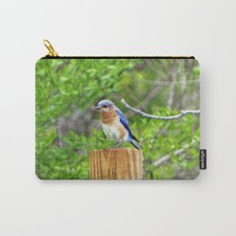 Bluebird on a Fence Post Carry-All Pouch