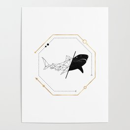 Shark Black Gold Geometric LowPoly Poster