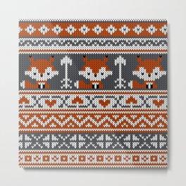 Fair Isle Fox - Reddish and Gray Metal Print