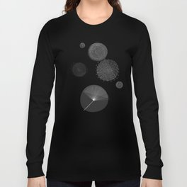Back and White Retro Mod Flowers by Friztin Long Sleeve T-shirt