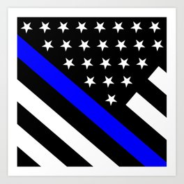 Police Flag: The Thin Blue Line Art Print