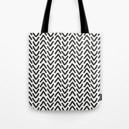 chevron black on white Tote Bag