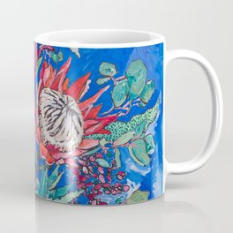 Painterly Bouquet of Proteas in Greek Horse Urn on Blue Coffee Mug