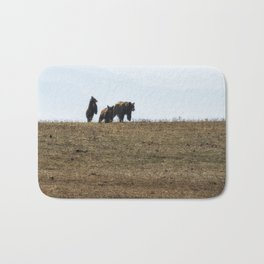Standing Cinnamon Black Cub with mother and sibling at Pryor Mountain Bath Mat