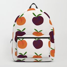 Peachy Plummy Hand-Painted Orchard Fruits in Orange and Purple Backpack
