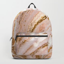 Blush Pink And Gold Liquid Color  Backpack