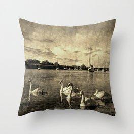 Serene Swans Vintage Throw Pillow