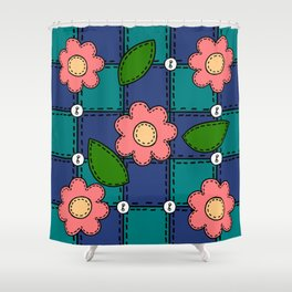 Retro Doodle Flower Style Quilt - Dark Blue and Green Shower Curtain