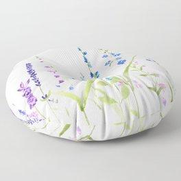 purple blue wild flowers watercolor painting Floor Pillow